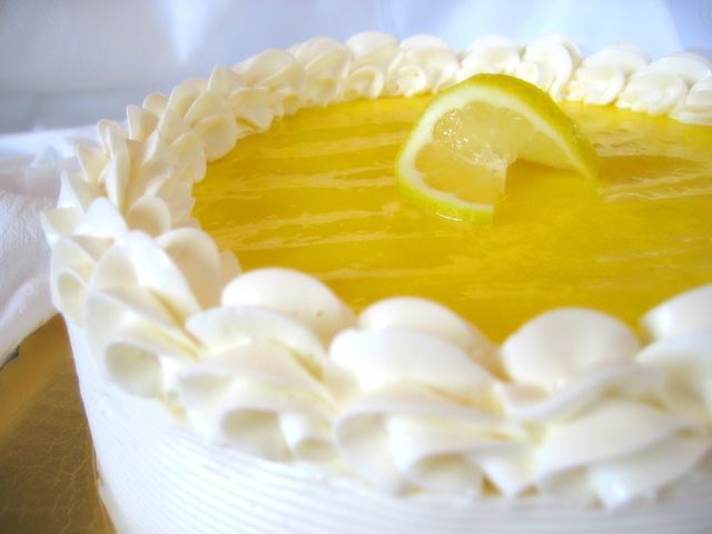 Lemon layer cake with lemon curd filling finished with lemon meringue buttercream (see menu)