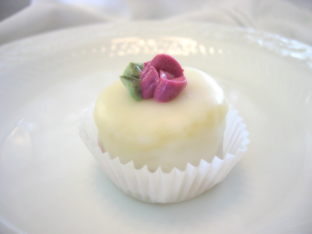 Classic petit four with raspberry filling and handmade poured fondant (see menu)